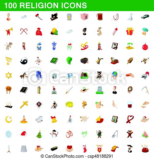 100 religion icons set, cartoon style - csp48188291