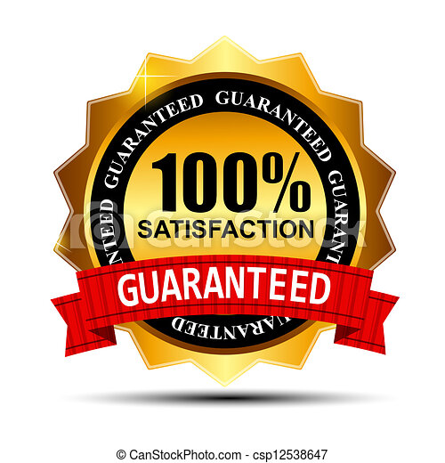 100% SATISFACTION guaranteed gold label with red ribbon vector illustration - csp12538647