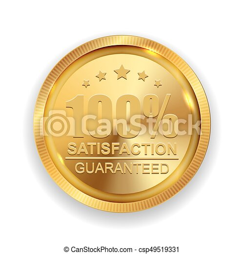 100% Satisfaction Guaranteed Golden Medal Label Icon Seal  Sign Isolated on White Background. Vector Illustration - csp49519331