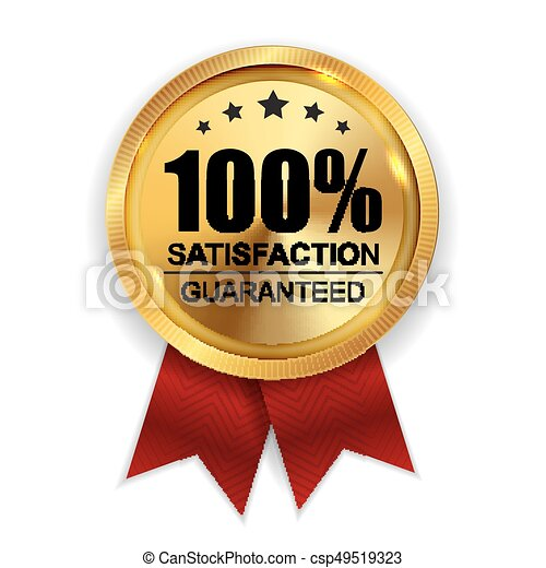 100% Satisfaction Guaranteed Golden Medal Label Icon Seal  Sign Isolated on White Background. Vector Illustration - csp49519323