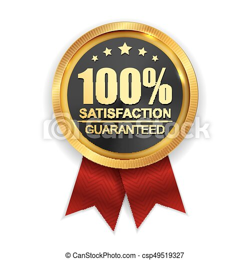 100% Satisfaction Guaranteed Golden Medal Label Icon Seal  Sign Isolated on White Background. Vector Illustration - csp49519327