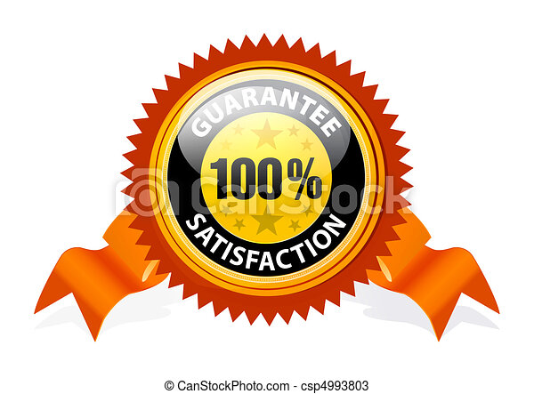 100 satisfaction guaranteed sign with ribbon on white background rh canstockphoto com 100 satisfaction guarantee logo png satisfaction guaranteed logo free