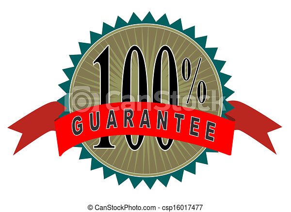 illustration of red ribbon and gold seal with words 100 stock rh canstockphoto com 100 satisfaction guarantee logo png satisfaction guaranteed logo png