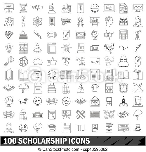 100 scholarship icons set, outline style - csp48595862