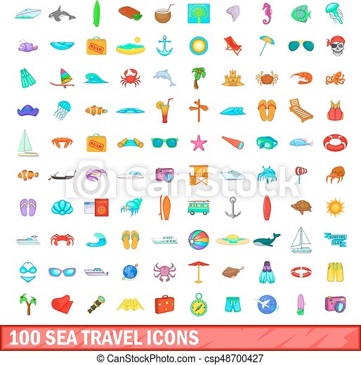 100 sea travel icons set, cartoon style - csp48700427
