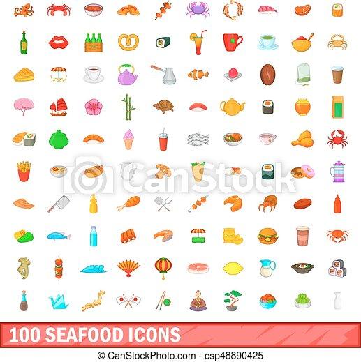 100 seafood icons set, cartoon style - csp48890425