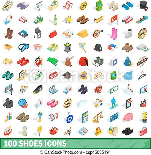 f41af365 100 shoes icons set, isometric 3d style. 100 shoes icons set in ...