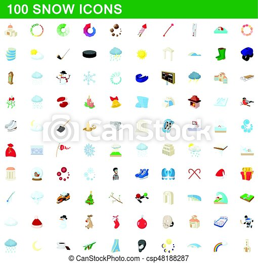 100 snow icons set, cartoon style - csp48188287