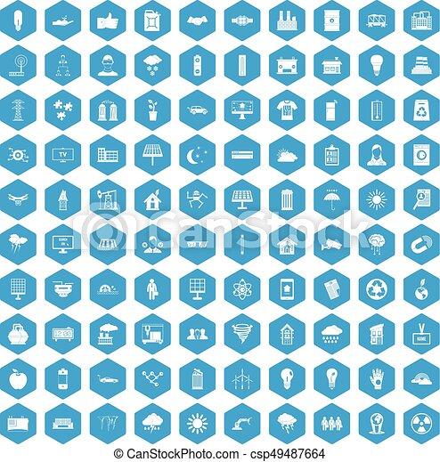 100 solar energy icons set blue - csp49487664