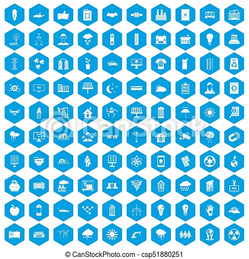 100 solar energy icons set blue - csp51880251
