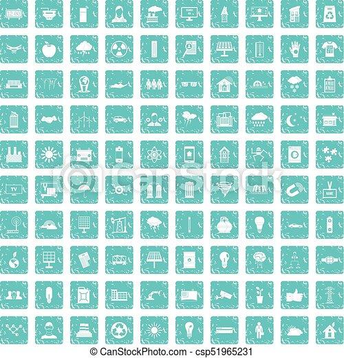 100 solar energy icons set grunge blue - csp51965231