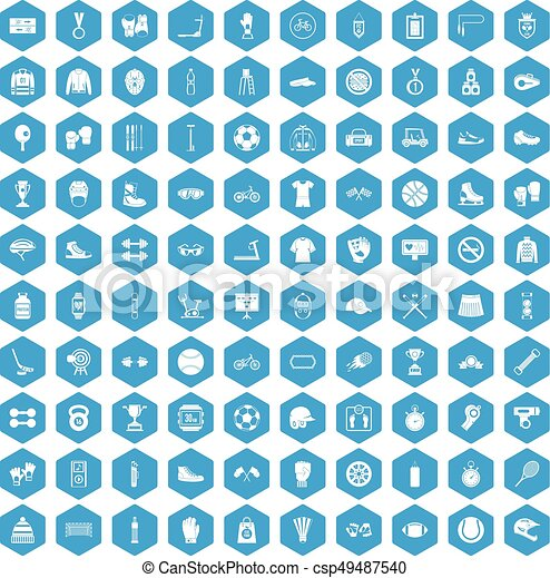 100 sport accessories icons set blue - csp49487540