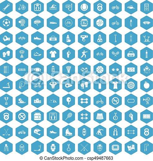100 sport icons set blue - csp49487663