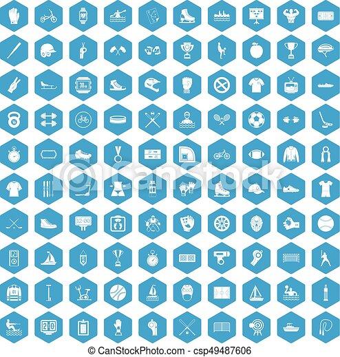 100 sport team icons set blue - csp49487606
