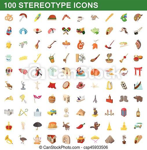 100 stereotype icons set, cartoon style - csp45933506