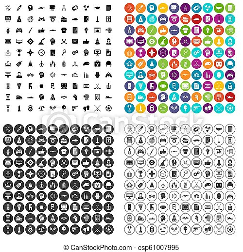 100 strategy icons set variant - csp61007995