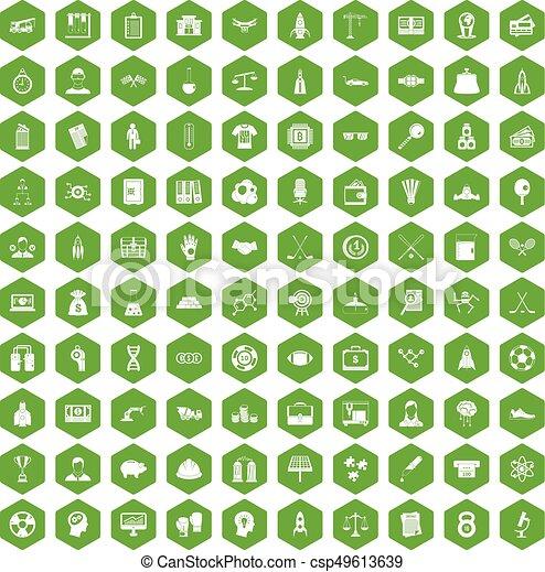 100 success icons hexagon green - csp49613639