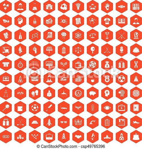 100 success icons hexagon orange - csp49765396
