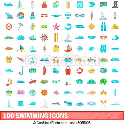 100 swimming icons set, cartoon style - csp48955905