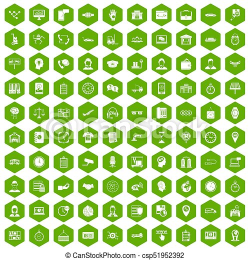100 horas de trabajo iconos hexágonos verdes - csp51952392