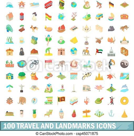 100 travel and landmarks icons set, cartoon style - csp45071875