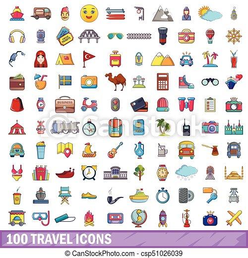 100 travel icons set, cartoon style - csp51026039