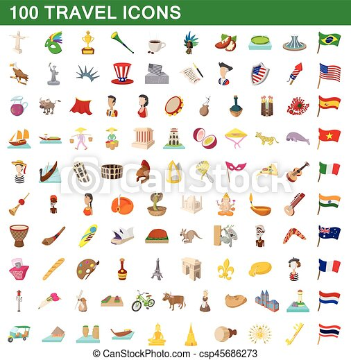 100 travel icons set, cartoon style - csp45686273