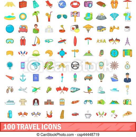 100 travel icons set, cartoon style - csp44448719