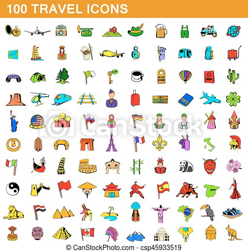 100 travel icons set, cartoon style - csp45933519
