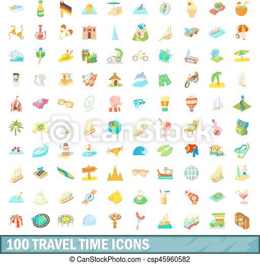 100 travel time icons set, cartoon style - csp45960582