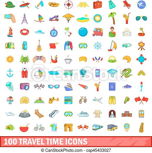 100 travel time icons set, cartoon style - csp45433027