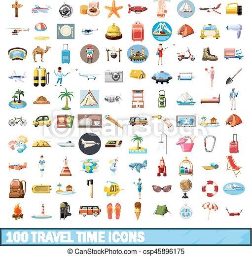 100 travel time icons set, cartoon style - csp45896175