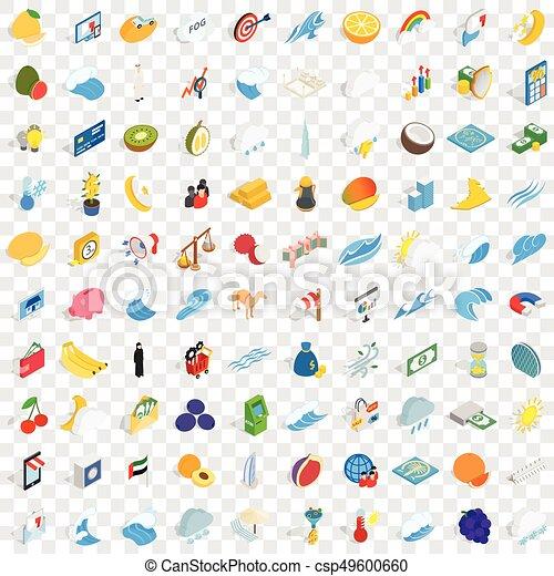100 universal icons set, isometric 3d style - csp49600660