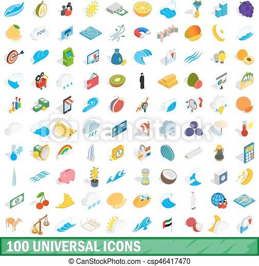 100 universal icons set, isometric 3d style - csp46417470