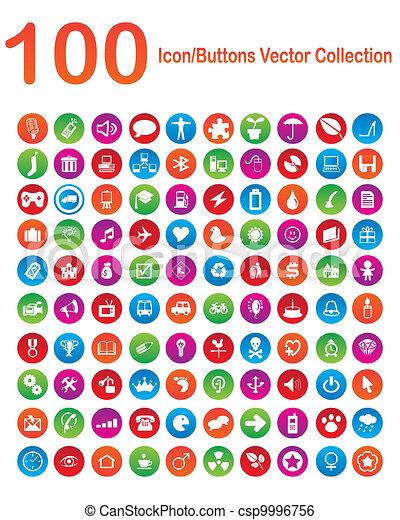 100, vektor, sammlung, icon-buttons - csp9996756