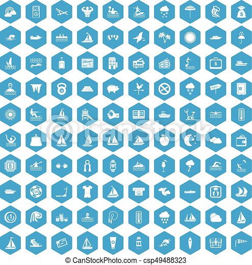 100 water sport icons set blue - csp49488323