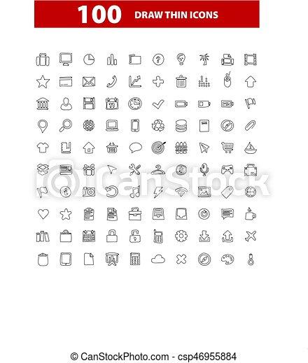 100 web icons set, signs, vector illustration. - csp46955884