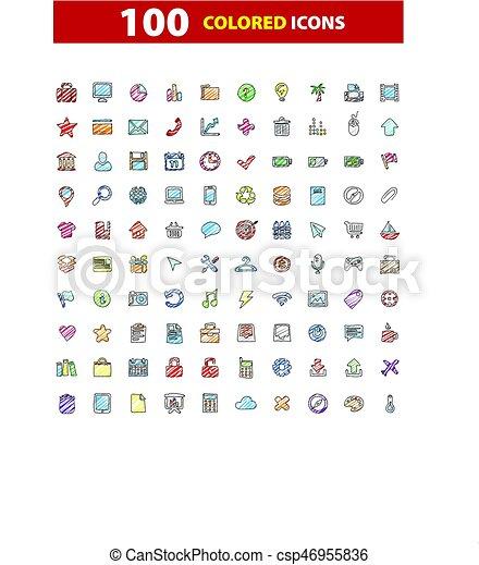 100 web icons set, signs, vector illustration. - csp46955836