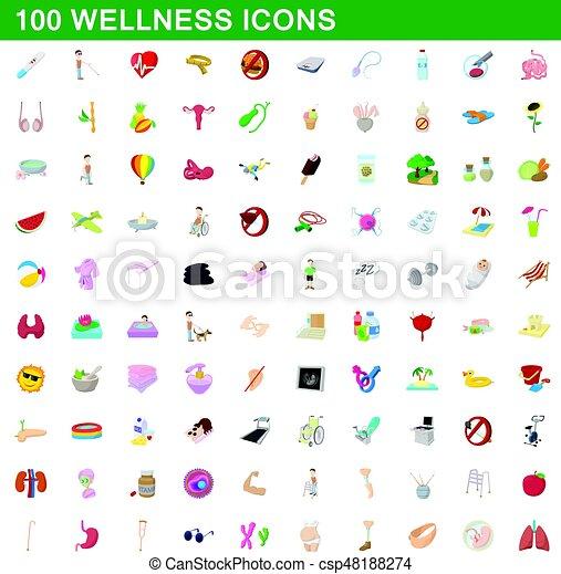 100 wellness icons set, cartoon style - csp48188274