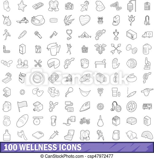 100 wellness icons set, outline style - csp47972477
