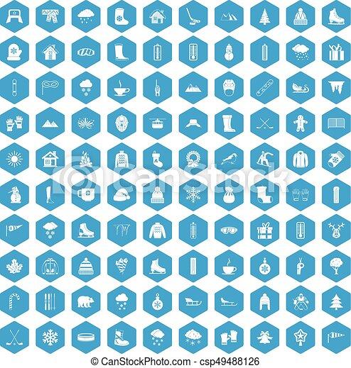 100 winter icons set blue - csp49488126