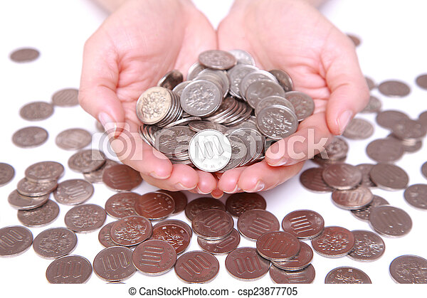 many japanese 100 yen coins with hands