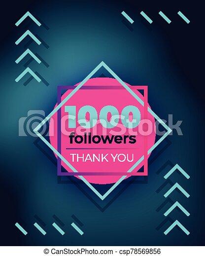 1000 followers, thank you, vector banner - csp78569856
