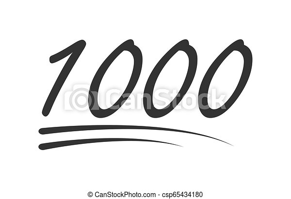1000 - hundred number vector icon. Symbol isolated on white background - csp65434180