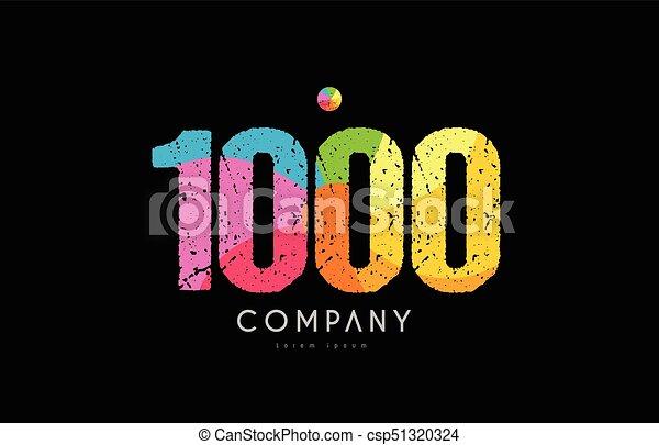 1000 number grunge color rainbow numeral digit logo - csp51320324