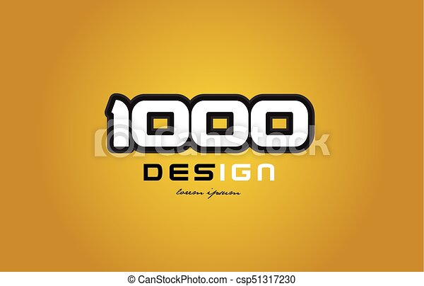 1000 number numeral digit white on yellow background - csp51317230