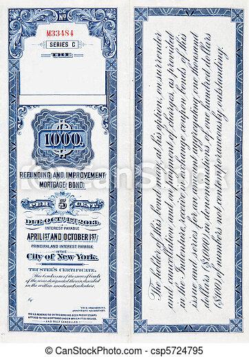 $1000 One Thousand Dollar Railroad Bond on White 1900 - csp5724795