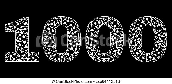 1000 Text in Polygonal Mesh Style - csp64412516