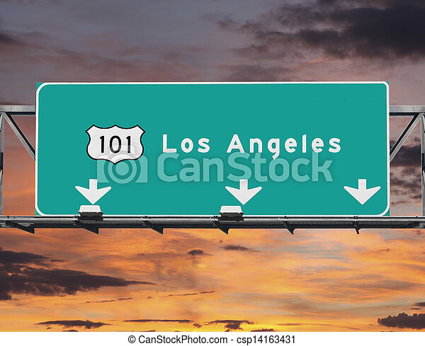 101 Freeway Los Angeles Sunrise Sky - csp14163431
