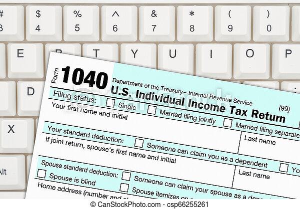 1040 forma, federal, imposto, nós, renda - csp66255261